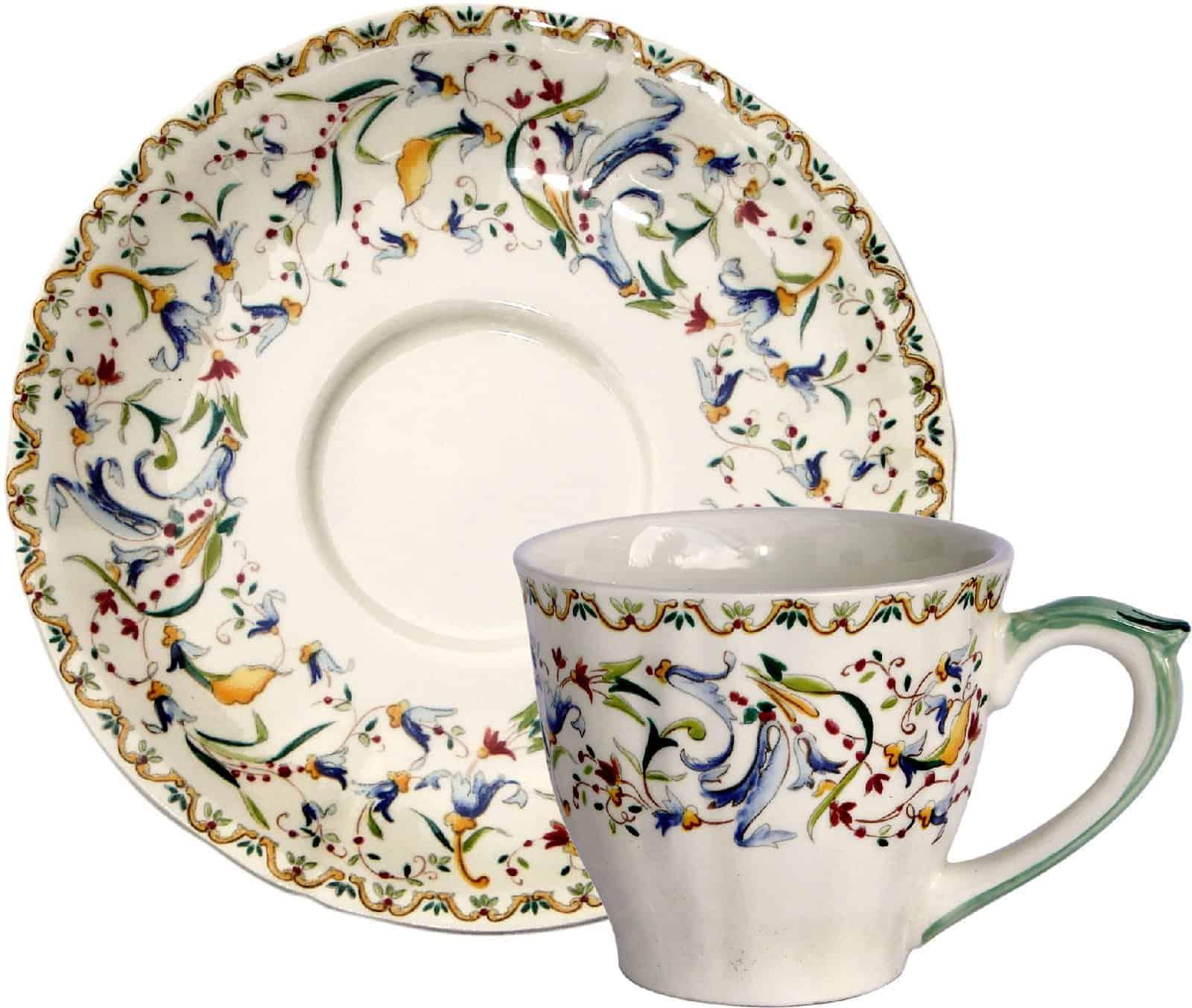 6 US tea cups & scrs